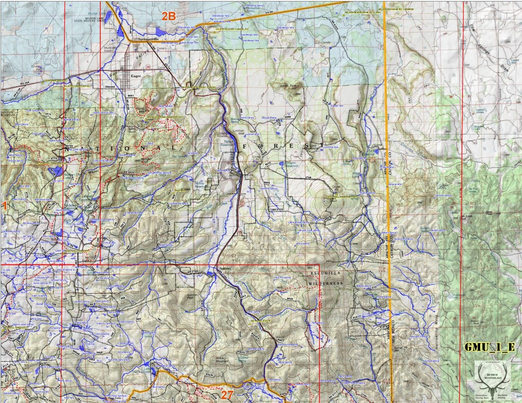 Map Of Arizona Land Ownership.Az Game Mgt Unit 1 East Portion 2 Of A 3 Map Set Swhuntingmaps Com